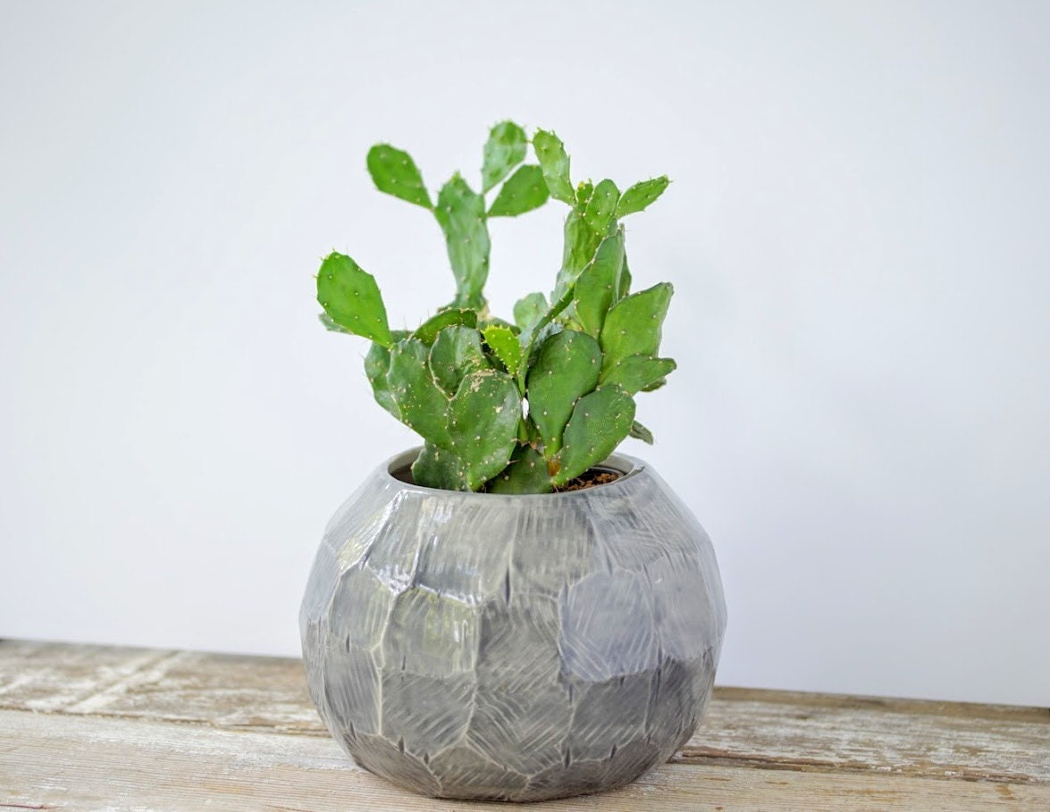 Gem Facet Planter Globe Pot Porcelain Pottery Ceramic Plant