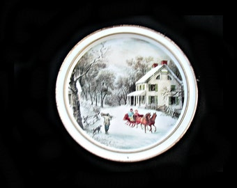 Currier & Ives tin , tin ware plate , colorful tin ware, The American Homestead Winter tin platter , decorative tin ware, # 33
