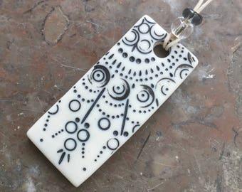 Black Lace rectangular porcelain pendant
