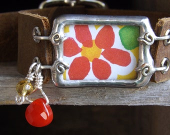 Bright Red Daisy on Sunshine Yellow Soldered Bracelet with Leather Band