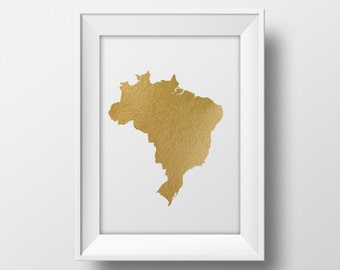 Gold foil Brazil map printable map, wall art Brazil map print country map poster printable brazilian art instant download gold map