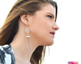 White turquoise earrings, Minimal earrings, Black and white earrings, Long silver earrings, Gemstone earrings, Chinese knot, gift for her