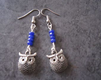 Earring is little OWL and blue beads.