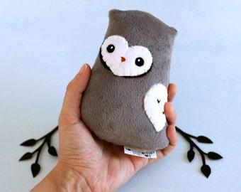Gray Owl Plushie. Owl Softie, Stuffed Owl Toy, Small Owl Doll, Minky Toy, Woodland Stuffie, Cute Owl Softie, Designer Plush, Horned Owl