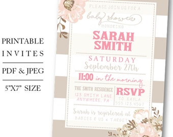 Printable/Digital Floral Baby Girl Shower Invite