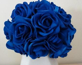 """100 pcs Royal Blue Wedding Arrangement Flowers Artificial Foam Rose Head Diameter 3"""" For Bridal Bouquet Table Centerpiece LNRS001"""