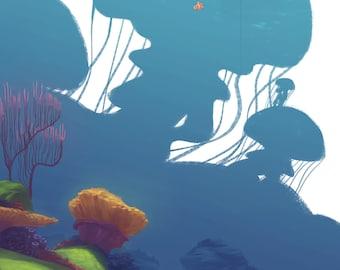 "Finding Nemo art print - ""The Drop-off"""