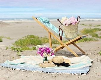 Pastel ocean photography,beach chair,seashore,summer decor,turquoise,calming,dreamy beach photo