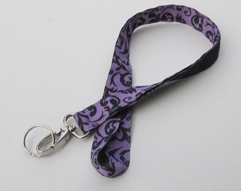 Black & Purple Damask Lanyard Keychains for Women,Cool Lanyards for Keys,Id Badge Holder Necklace Lanyards,Cute Lanyards for Badge
