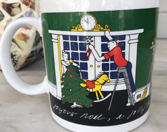 vintage Taylor & Ng Joyous Noel mug, Jolly New Year Christmas coffee cup, 1980 San Francisco, holiday cocoa mug