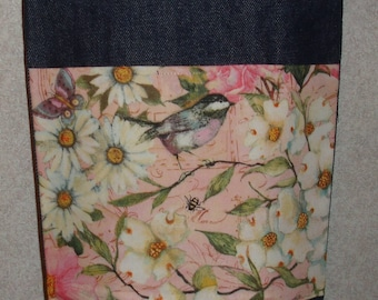 New Small Handmade Dogwood Daisy Chickadee Garden Denim Tote Bag Purse