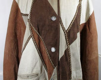"""1970s Vintage Womens Brown Suede Patchwork Coat w/ Coin Buttons LARGE/XL Size 18 (Bust 46"""") Retro Jacket  -Quality Vintage Fashion-"""