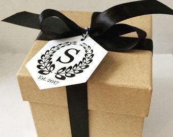 Wedding Monogram Gift Tags, Wedding Favors, Thank You Tags, Favor Tags, Wedding Gift Tag, Wedding Tags, Monogram Tags, 10