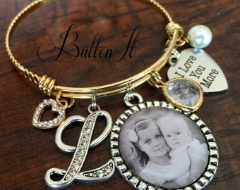 Mother's day gift, PHOTO pendant, Gifts for Mom, Gifts for Grandma, Gold Bangle Bracelet, Mother daughter jewelry, Gifts for Grandma