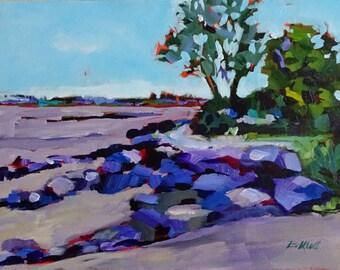Original Art Painting, Acrylic Painting, Beach Painting, Beach Art, Canvas Painting  12 X 16 inches