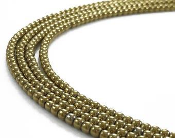 1Full Strand 2mm Gold Hematite Round Beads,Wholesale Hematite Gemstone For Jewelry Making
