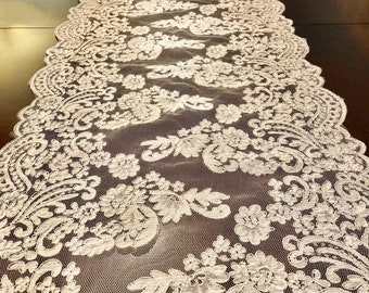 table runner, lace table runner, lace, ivory table runner, wedding decor, wedding table runner, home decor, beige lace, ivory lace