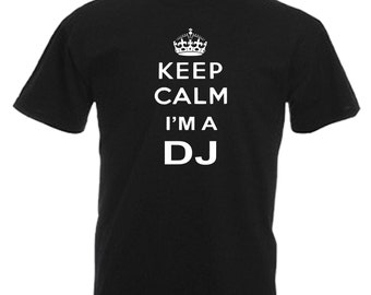 DJ Novelty Gift Adults Mens Black T Shirt Sizes From Small - 3XL