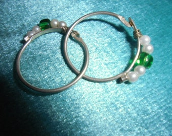 Moroccan Jewelry, lot 2 small fine silver Berber hoop earrings with pearls, glass, 1 inch diameter