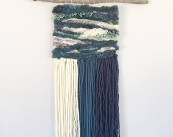 Navy, Grey, White and Mint Green Woven Wall Hanging / Weaving Wall Hanging/  Home Decor / Wall Decor / Wall Hanging / textile / woven art