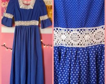 60s 70s blue polka dot maxi dress