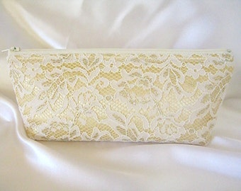 Gold Satin Clutch- Ivory Lace Clutch - Gold Wedding Clutch - Gold And Ivory Clutch - Gold Bridesmaid Clutch - Gold Bridal Clutch - Gold Bag