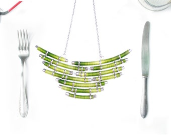 HUE Retrofuturistic Thread Statement Necklace / Retro Futuristic Tribal Neck Piece / Art Thread Necklace / Statement Jewelry
