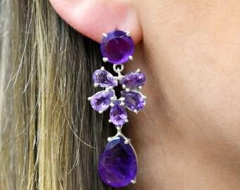 Bridal chandelier Earrings, Gemstone Sterling Silver Earrings, Purple Earrings, Amethyst Dangle Earrings, Bridal Dangle Drop Earring