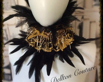 Black Feather and Gold Lace High Neck Collar Goth Steampunk  Burlesque Halloween