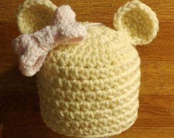 Newborn Bear Bow Hat
