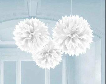 Wholesale Lot of FOUR Tissue Paper Flower Pom Poms WHITE