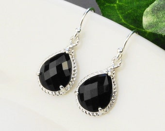 Black Earrings - Silver Black Bridesmaid Earrings - Bridesmaid Gift - Crystal Drop Earrings - Silver Bridesmaid Jewelry - Wedding Jewelry