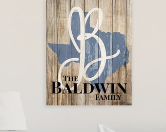 Rustic State Shape Wood Sign 16x20
