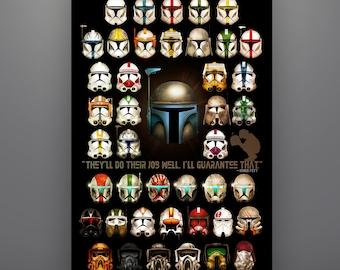 "Star Wars Inspired ""Clone Trooper Composite"" 11X17 Art Print by Herofied Jango Fett Commander Cody Gree Bly Captain Rex  Boba Fett"
