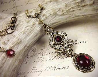 Red Pendant Necklace, Garnet Renaissance Jewelry, Medieval Necklace, Ren Faire Garb, Borgias, Tudor Costume, Princess Wedding, SCA, Avalon