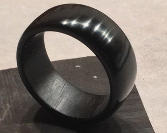 Custom HandCrafted Black Ebony ring (Gaboon Ebony)