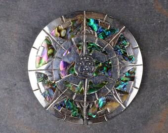 Vintage Mexican Aztec Brooch Silver