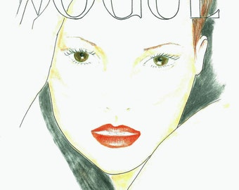 Hand Drawn Vogue Poster, Fashion Illustration Vogue Cover, Kate Moss Face Print, Fashion Wall Art, Girls Room Decor