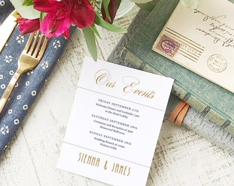 Wedding Agenda Card, Printable Wedding Timeline Letter, Events Card, Ticket, Itinerary, Agenda, Hotel Card - INSTANT DOWNLOAD