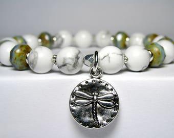 Howlite Dragonfly Bracelet, Womens Boho Hippie Bracelet, Insect Bracelet,  Womens Beaded Bracelet, Charm Bracelet, Gemstone Bracelet