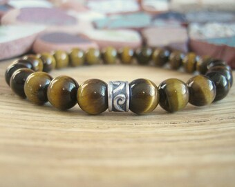 Mens Tigers Eye Bracelet - Celtic Bracelet for Men with Silver Celtic Band, Mens Gift for Confidence, Luck, Prosperity and Success