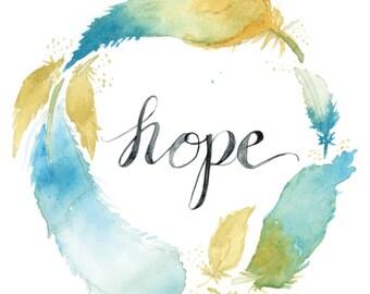 Hope Wreath | Watercolor | Lettering