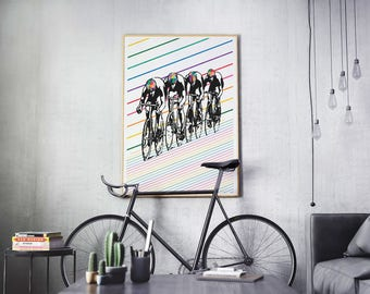 cyclist gift abstract art modern art sport poster minimalist decor modern wall art modern print bicycle art colorful large wall art boy gift