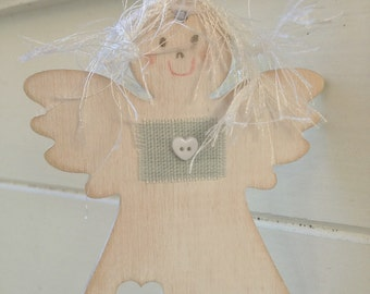 Angel Decor Door Hanger, Shabby Chic Wooden Hanging Angel, Hanging Angel Fairy Gift Tag, Gift for her, Birthday gift