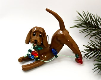 Redbone Coonhound PORCELAIN Christmas Ornament Figurine with Lights