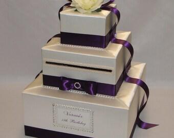 Elegant Custom made Wedding Card Box-Ivory and Eggplant colors- any colors