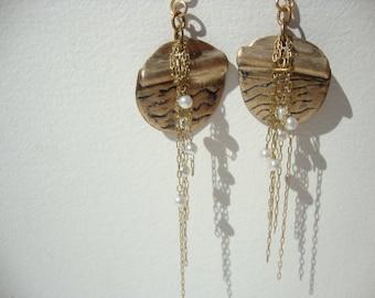 bronze, white pearls earrings