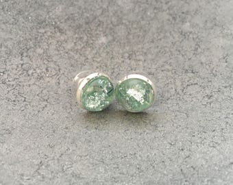 Mint Green with Silver Leaf Flakes Resin Studs Earrings, Resin Earrings, Resin Jewelry, Silver Leaf Foil, Christmas