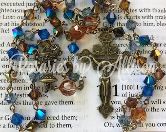 Blue and Brown 'Lakeshore' Swarovski crystal bicone and Crystal Copper crystal round rosary w bronze plated Chalice center and crucifix