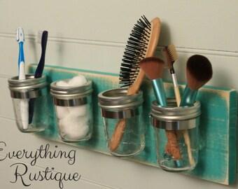 Mason Jar Organizer, Mason Jar Decor, Shabby Chic, Mason Jar Bathroom,Bathroom Decor, Rustic Decor, Mason Jar